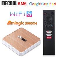MeCool KM6 Deluxe TV Box AndroidTV 10.0 Amlogic S905x4 4GB 64GB 2.4G / 5G Wifi 6 Widevine L1 Google Play Prime Video 4K صوت مجموعة أعلى مربع