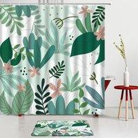 Shower Curtains Tropical Green Plants Leaf Set Monstera Leaves Printing Bath Mat Bathroom Rug Screen Room Decoration