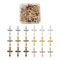 Charms 120pcs Box Alloy Cross Tibetan Style Metal Crucifix Dangle Pendants For Bracelet Necklace Earring Making Mixed Color