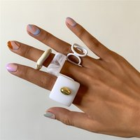 Irregular Geometric Acrylic Finger Rings Resin Pattern Hollow Opening Ring Europe Women Alloy Wide Ellipse Punk Party Jewelry Sets Accessories Wholesale