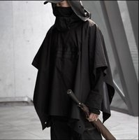Functional Cloak Dark Ninja Jacket Trench Streetwear Tactical Pullover Hoody Windbreaker Shawl Coat Men cool black
