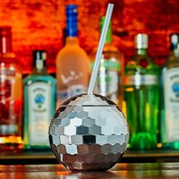 Brillant argenté disco ball cocktail cocktail tasse de poupe nocturne tavelette garçon gisement de vin de vin incassable verre portable yerba mate gobelet