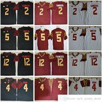 ولاية فلوريدا ستيت سيمينولز كلية 2 ساندرز 4 ديون كوك 5 جيميس وينستون 12 دوندير فرانسوا أحمر أبيض أسود NCAA FSU كرة القدم جيرسي