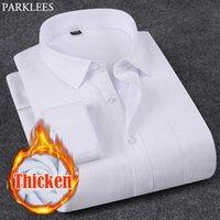 Men's Casual Shirts White Thicken Warm Dress Men 2021 Winter Slim Fit Velvet Shirt Mens Business Formal Button Down Chemise Homme