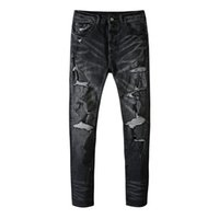New design men's jeans hole knife cut and polish old washed trousers