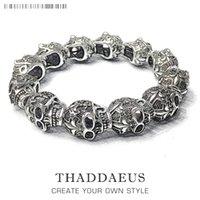 Bracelets Fleur-de-lis Lily Skull Punk Bead Brand Silver Fashion Europe Style Jewelry Tms Bijoux Gift For Men & Women