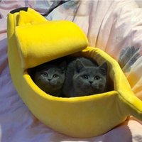 Cat Beds & Furniture Multicolor Bed House Cute Funny Banana Mat Warm Durable Portable Pet Basket Kennel Dog Cushion Supplies