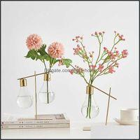 Vasines Decor Gardennordic Decoration Home Transparent Hydroponic Glass Jase Aessories Moderno Gold Terrarium S para la entrega de flores 2021