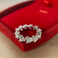 HBP fashion luxury Jewelry New Love shaped ring S925 pure silver simple single row full diamond handpiece