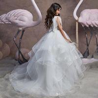 Girl's Dresses White Flower Girls For Wedding 2021 Ball Gown Sweep Train Ruffled Tulle First Communion Gowns Little Girl Princess F