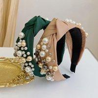Bandeau de tête de Perle classique Vintage Large Large Dames Dames Bandeau à cheveux Couleur Solide Couleur nouée Accessoire de cheveux