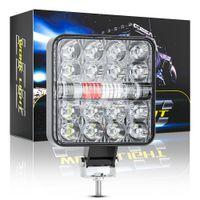 LED Truck Trailer Work Light Spot Lamp Bar 48W 9V-60V Square 26LED Red Blue Flash Strobe Lights for Cars Off Road Tractor Boat 4x4 ATV