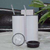 Wholesale 15oz Сублимация Can Cooler с 2LIDS 450ML прямые белые пустые тумблеры из нержавеющей стали бутылки с водой двойной изолированные питьевой чашкой A12