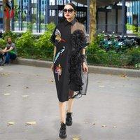 Femme d'été Femme Noir Midi Midi Moirée Mousseline De Chemise De Chemise Plus Taille Taille Broderie à volants Péquine Lady Sheer Voile Party Robes Robe 3392 210309