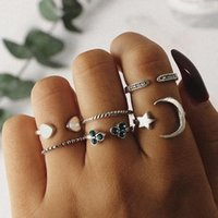 Cluster Rings Meetvii 6Pcs Set Vintage Heart Star Moon Round Wave Knuckle Joint Set For Women Opening Fashion Jewelry