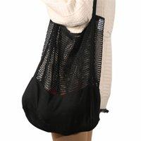 Produce Reusable Shopping Mesh Bag Kitchen Fruits Food Storage Bags Net Bag Black White Tote Bags ZZC5408