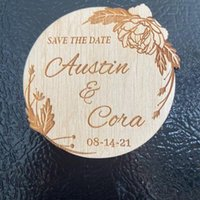 Fridge Magnets Floral Wedding Invitation Personalised Custom Invites Wooden Leaves Rustic Boho Nature Leaf Engraved Save The Date Magnet