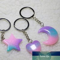 Fashion Love Heart Keychain Women Girl Small Pendant Crescent Star Keyring Acrylic Car Trinket Accessory Xmas Gift Party Jewelry Factory price expert design