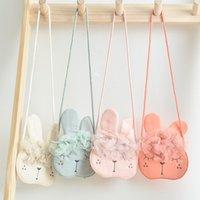 Niños Lace Bunny Ear Crossbody Bolsos Diseño original Niños Bolsa al aire libre Pequeñas Niñas Mano Hecho Mano Messenger Bag