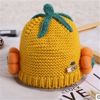 2021 Automne hiver NOUVEAU Chapeau pour enfants chapeau de citrouille bébé garçon fille fille de laine dessin animé jolie bonnet tricoté 3-24 mois