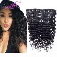 Brasilianische unverarbeitete tiefe Welle lockig 10-28 Zoll Clip in den Haarverlängerungen 7 stücke 140g Vollkopf Peruanisches Remy-menschliches Haar