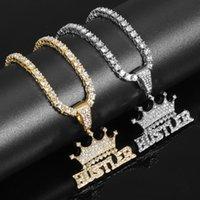 Anhänger Halsketten Herren KC Golden Hip Hop Krone Lügner auf 4mm 24 Zoll Seil / dicker Kasten und 20 1 Zeile Tenniskette
