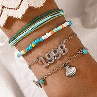 4pcs sets Colorful Beaded Bracelets for Women Letter 1998 Summer Shell Tassel Rope Adjustable Party Jewelry