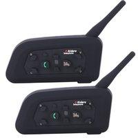 VNETPhone V6 WALLIE Talkie دراجة نارية Bluetooth3.0 Helmet Intercom Headset 1200m Moto Wireless BT Interphone لمدة 6 دراجين