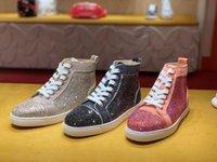 LOUBOUTIN CHRISTIAN Cheap Originals Strass Suede Leather Sneakers Classic Brand Men Women High Top Red Bottom Shoes Fashion Man Skateboa FaC