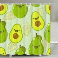 Abacate Chuveiro Cortina 180 * 180cm verão abacate impresso adulto banheiro cortina de chuveiro bonito desenho animado avocados banheiro decoração gwd5244