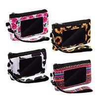 Sunflower Credit Card Holder PVC Zipper Wristlet Pouch Neoprene Mini Wristlet Wallet Neoprene for Women Girls