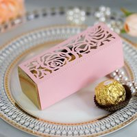 Gift Wrap 10 50 100pcs Rose Flower Laser Cut Candy Box Favors And DIY Chocolate Dragee Wrapping Christmas Wedding Decoration