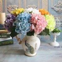 Newduciative Flower Party 용품 인공 수국 헤드 47cm 가짜 실크 단일 진짜 터치 다른 색상 ewe5256