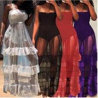 여성은 흰 드레스 스트랩을 통해 티에 워진 메쉬 해변 sundresses 여름 섹시한 클럽 파티 드레스 솔리드 얇은 깎아 지른 메쉬 맥시 드레스