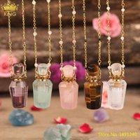 Naturel Amethsts Quartz Tiger Eye Pierre Gold Perfum En Flacon Essential Huile Pendentif Collier Femmes Gemstones Collier de flacon Bijoux