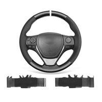 عدم الانزلاق دائم من جلد الغزال الأسود بو ألياف الكربون سيارة عجلة القيادة غطاء الاعوجاج لتويوتا RAV4 كورولا أوريس إيزيس