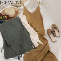 OceanLove V Col V Le cou Solide Tricoté Casual Tous match Simple Mode Femmes coréennes Robe élégante Vestidos Nouveaux vêtements 15517 210311