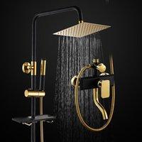 Sistema de chuveiro de chuva negra banheiro luxo chuveiro dourado conjunto com torneira de banheiro da prateleira do painel conjunto torneira de torneira