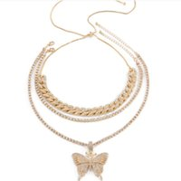Pendant Necklaces Women Luxury Cuban Link Chain Choker Butterfly Pendent Necklace For Hip Hop Iced Out Crystal Rhinestone Jewelry