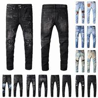 Jean Mens Tasarımcılar Jeans Sıkıntılı Yırtık Biker Slim Fit Motosiklet Bisikletçileri Denim Erkekler için Moda Msors Siyah Pantolon Hip-Hop Pour Hommes 2021