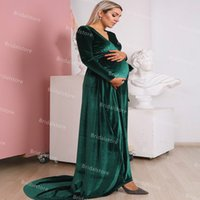 Modest Green Velvet Maternity Wedding Dresses 2021 Sexy V Neck Long Sleeve Plus Size Country Blue Burgundy Wedding Dress Cheap Bridal Gowns