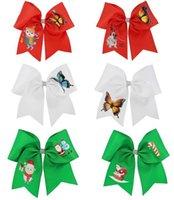 헤어 액세서리 2021 소녀를위한 크리스마스 7 인치 응원 리본 수제 인쇄 리본 고무 밴드 로프 치어 리더 파티 키즈 모자