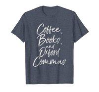 Café, libros, y oxford comas camisa divertida lectura tee