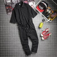 Men's Pants Summer Korean Style One-piece Trendy Solid Short Sleeve Overalls Jumpsuit For Men Casual Streetwear Punk Clothing