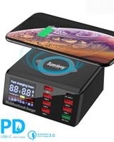 100 W Çok USB Hızlı Şarj Kablosuz iPhone 12 11 Pro XR 8 Port USB LCD Hızlı Şarj İstasyonu 3.0 Samsung S10 için PD Şarj