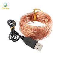 Luz led string usb lâmina alimentada de fio de cobre luzes de fadas 10m 20m multi cores cordas para casamento casa home xms decoração