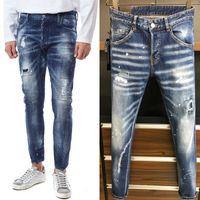 Siyah Hasarlı Jeans Sıkıntılı Vintage Yıkama Boya Tabakları Kemer Döngüler Düğme Fly Logo Yama Ince Fitness Denim Pantolon Adam