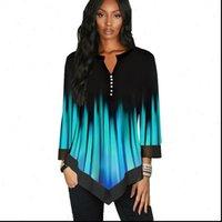 Çizgili Patchwork Kadın Gömlek V Boyun Bluz Bahar Rahat Üç Çeyrek Kol Düğme Tunik 5XL Artı Boyutu Gömlek Bluzlar