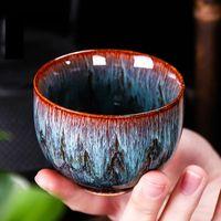 Cups & Saucers 130ml Chinese Retro Handmade Random Texture Color Glaze High Temperature Firing Ceramic Teacup Porcelain