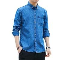 새로운 데님 코튼 긴 소매 셔츠 남성 일본식 캐주얼 셔츠 남자 계약 분위기 긴 소매 진 셔츠 W1783
